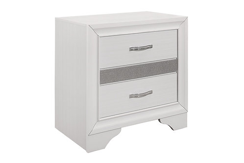 Henry Luster White and Silver Glitter Night Stand