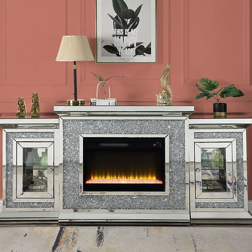 All LED Mirrored Glam Noralie Fireplace-AC00522