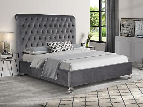 Best B95 Tufted Gray Velvet Fabric Bed w/Acrylic Legs