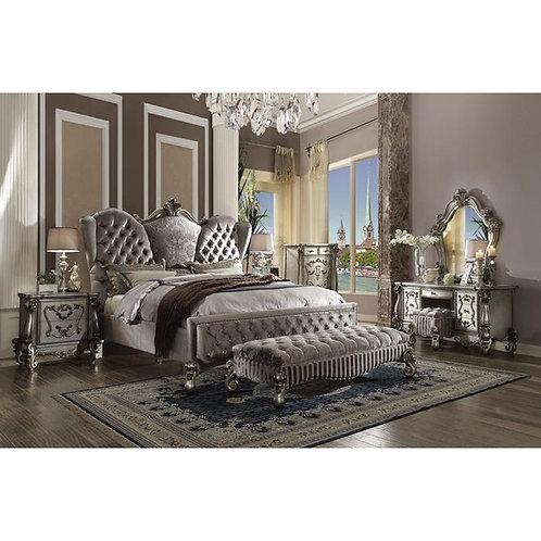 Versailles All Velvet & Antique Platinum Finish Bed