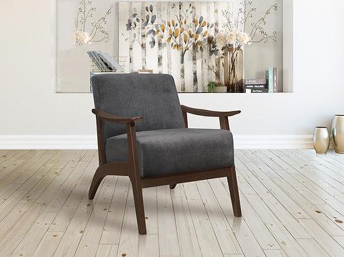 Carlson Henry Mid Century Dark Gray Velvet Chair