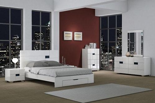 Aria White Bed Modern