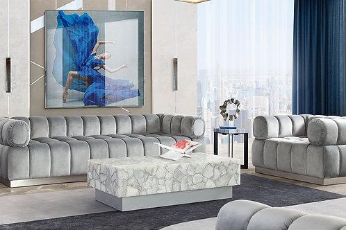Dream Imagine Platinum Gray Velvet / Brushed Silver Sofa