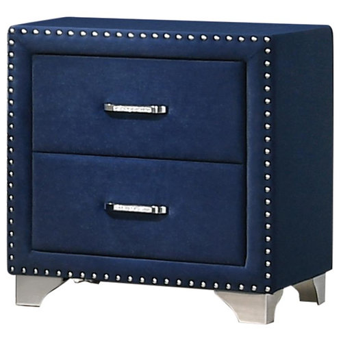 Cali Melody Contemporary Pacific Blue Matte Velvet Tufted Bed Frame