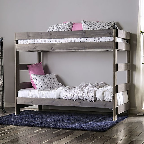 ARLETTE Imprad Twin/Twin Gray Bunk Bed
