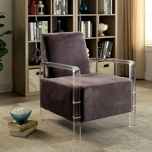 ELOISE Imprad Contemporary Gray Chair w/Acrylic Legs