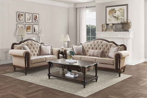 Henry Heath Court Traditional Brown Finish Tufted Sofa