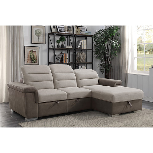 Alfio Henry 2-Piece Sectional with Pull-out Bed and Hidden Storage