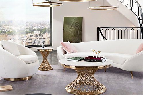 Celine Dream Light Cream Velvet / Gold Legs Sofa