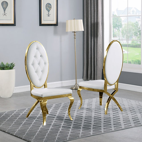 Best Q SC55 Faux Leather White/Gold Chair