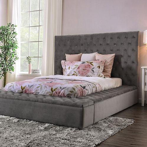 Davida Imprad Gray Fabric Bed with Storage