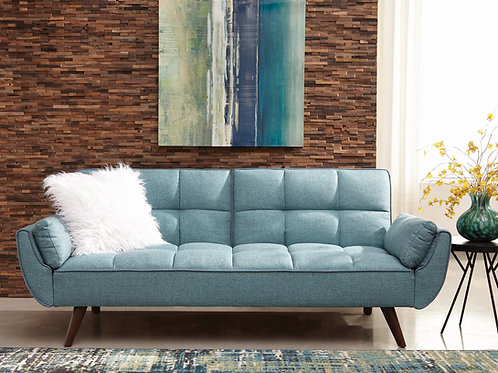 Caufield Cali Biscuit-Tufted Sofa Bed Turquoise Blue