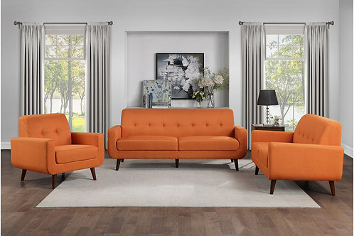 Henry Fitch Orange Textured Fabric Sofa