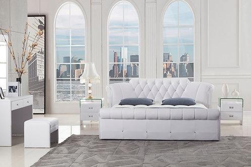032 AE PU White Bed