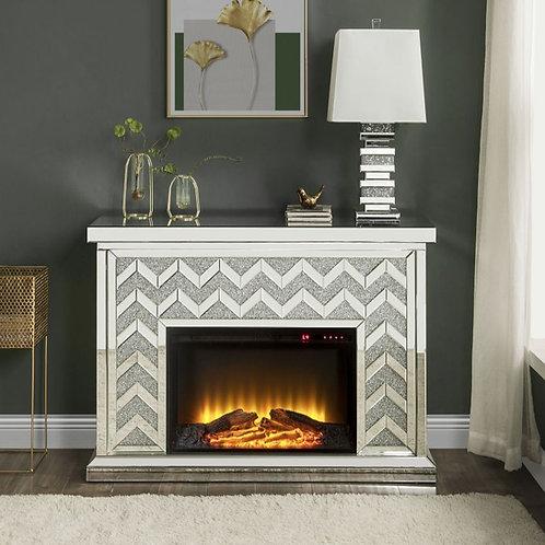 All Noralie 90530 Glam Mirrored Fireplace w/Adj Temp Timer