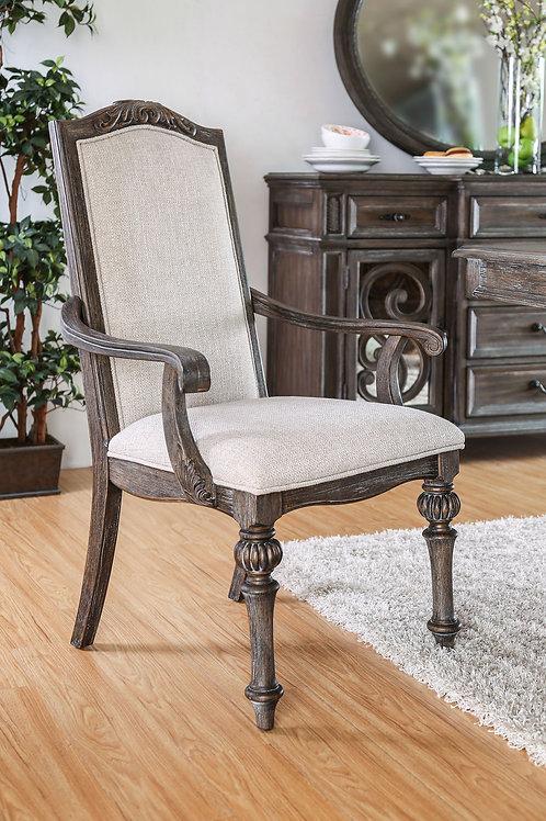 ARCADIA Imprad Rustic Natural Tone-Ivory Fabric Arm Chair