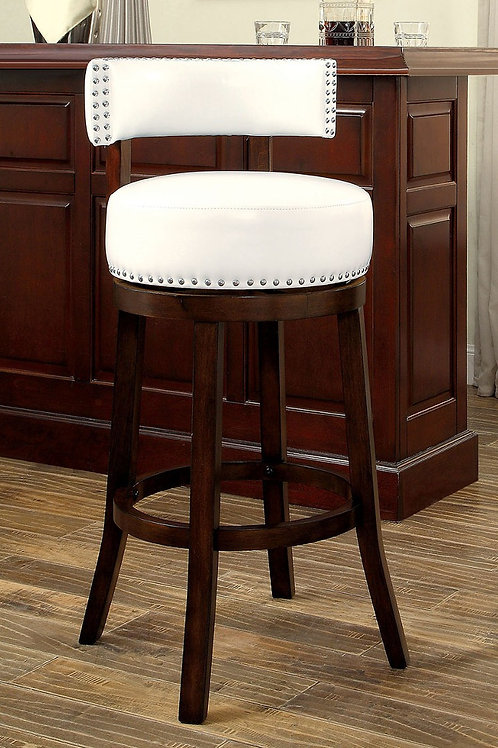 SHIRLEY Imprad 25'' Transitional White Leatherette w/Nailhhead Counter Ht. Stool