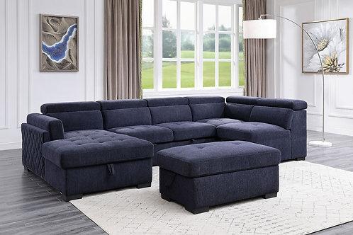 All NEKODA 55520 Navy Blue Fabric Storage Sleeper Sectional Sofa & Ottoman