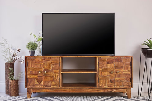 4-Door TV Console Natural Sheesham Cali