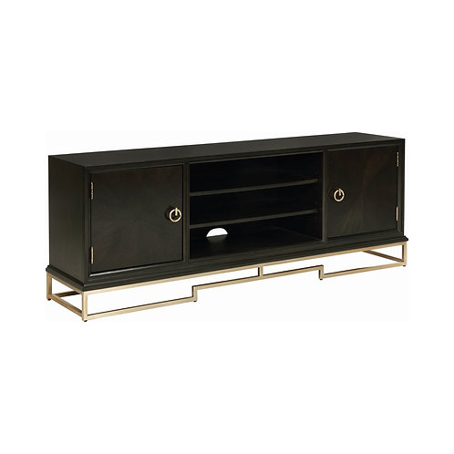 Corliss Cali 2-Door TV Console Americano And Rose Brass