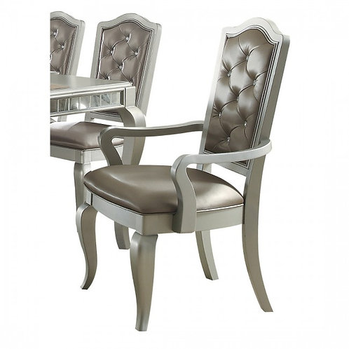 Francesca All Silver PU /Champagne Finish Arm Chair