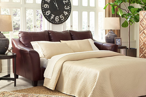 Fortney Angel Mahogany Leather Sofa Chaise Queen Sleeper