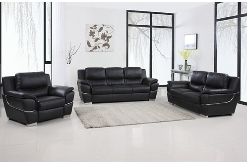 4572 GU Black Contemporary Leather Sofa