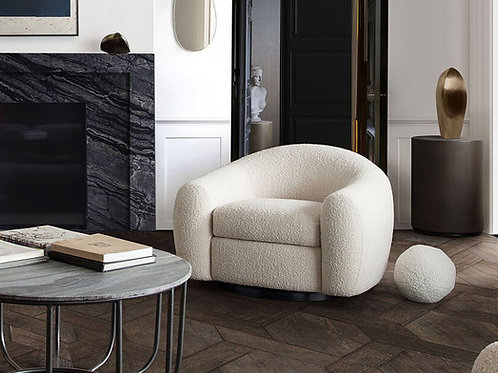 Pascal Boucle Textured Fabric Swivel Chair
