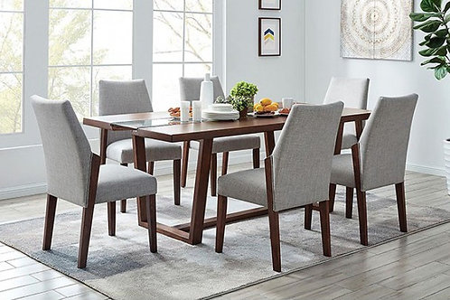 BRIGHID Imprad Mid-Century Modern Dark Oak Glass Insert Dining Table