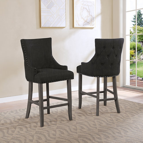 Best BS32 Charcoal Linen Nailhead Trim & Button-Tufted Back Barstool
