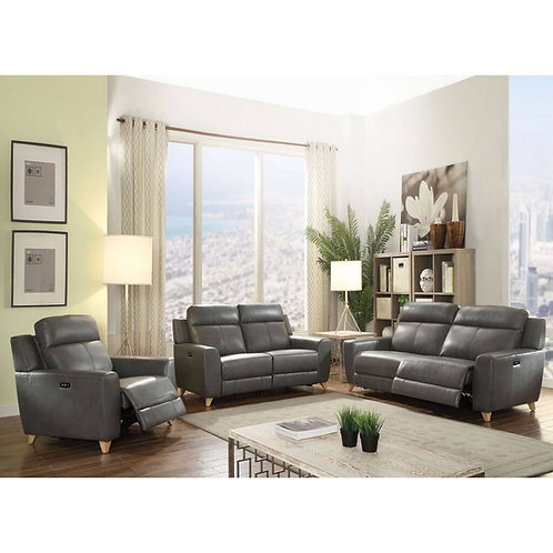Cayden All Sofa (Power Motion) Gray Leather-Aire Match