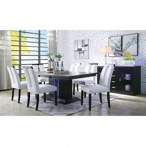 Bernice All Black Finish LED Dining Table