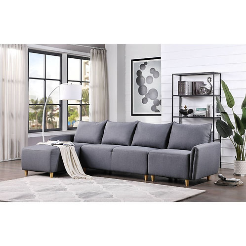 All Marcin Contemporary Gray Fabric Sectional Sofa - 51830