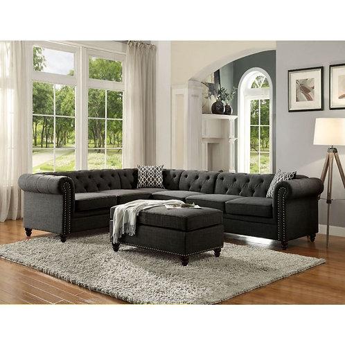 All Aurelia II Charcoal Linen Sectional Sofa