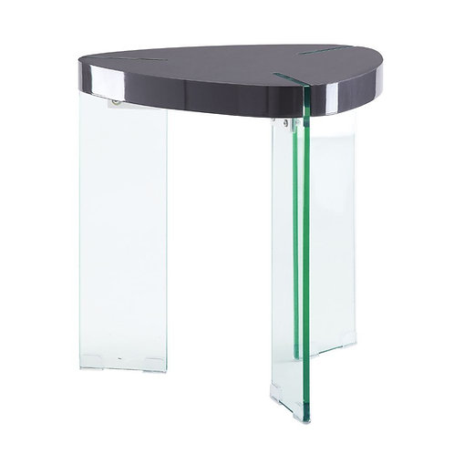 Noland All End Table Gray High Gloss & Clear Glass