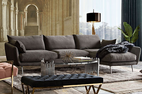 Dream Vantage RF -Iron Grey Fabric / Brushed Silver Sectional