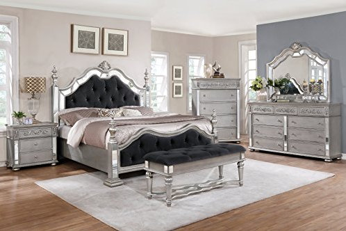Best B811 Black Velvet Tufted Panel Bed