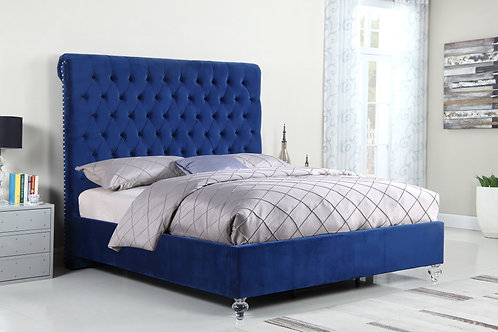 Best B96 Tufted Navy Blue Bed Frame w/Acrylic Legs