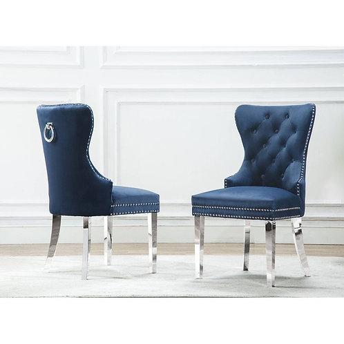 Best SC4169 Navy Blue Tufted Velvet Side Chair