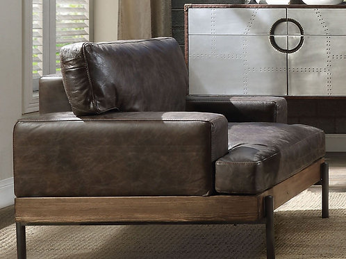 Silchester All Chair Oak & Distress Chocolate Top Grain Leather