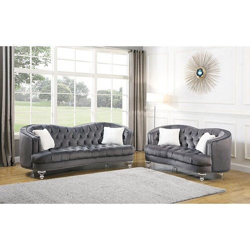 Best SC36 Dark Gray Velvet Loveseat