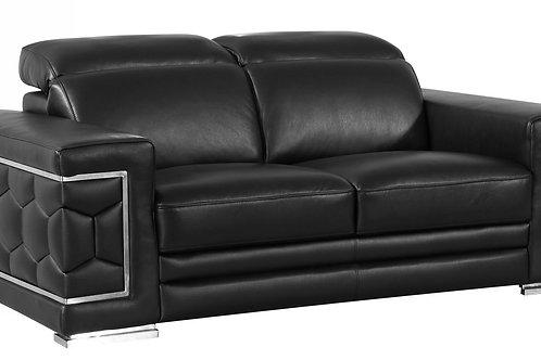 692 Geo Black Italian Leather Loveseat
