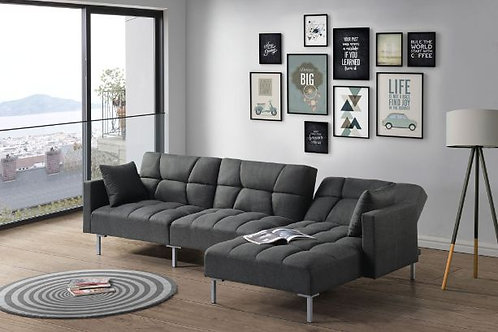 All DUZZY Dark Gray Fabric Reversible Adjustable Sectional Sofa w/2 Pillows