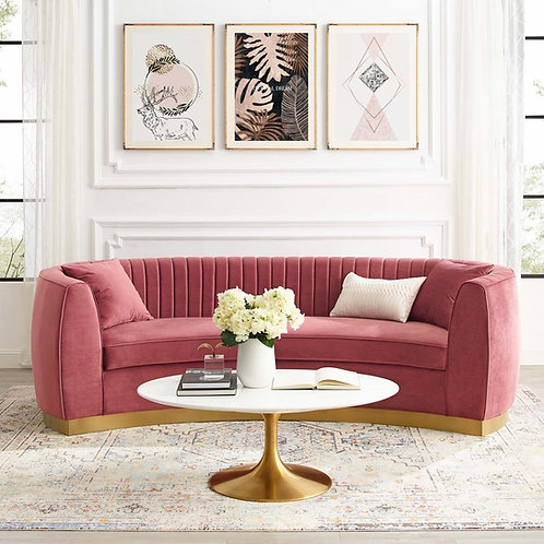Enthusiastic Mod Tufted Curved Velvet Sofa in Dusty Rose