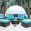 Thumbnail: ARIA Imprad Brown, White, Turquoise Contemporary Patio Daybed