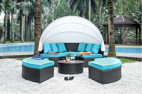 ARIA Imprad Brown, White, Turquoise Contemporary Patio Daybed