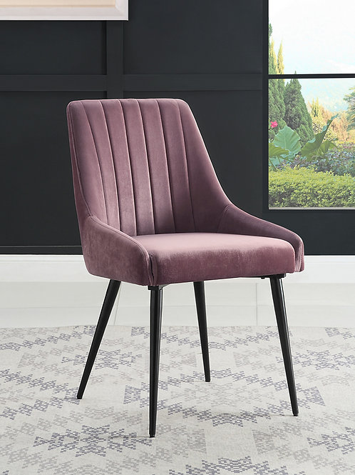 Caspian All Mid-Century Pink Fabric Side Chair