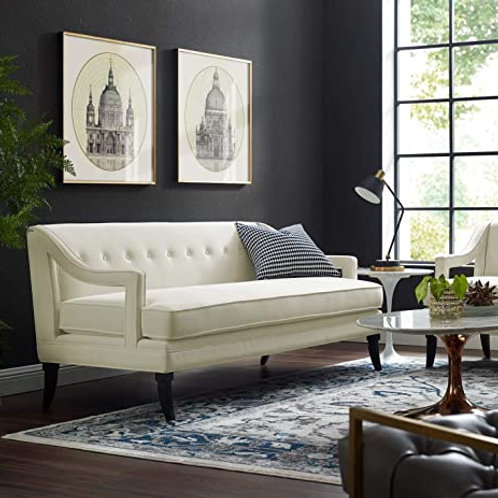 Concur Mod Button Tufted Performance Velvet Sofa in Ivory