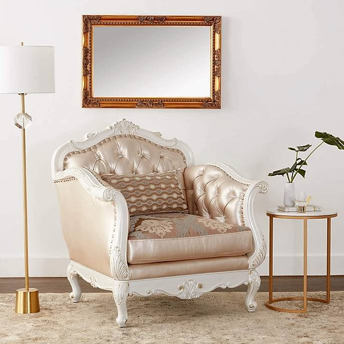 All Chantelle Chair w/1 Pillow Rose Gold PU/Fabric & Pearl White