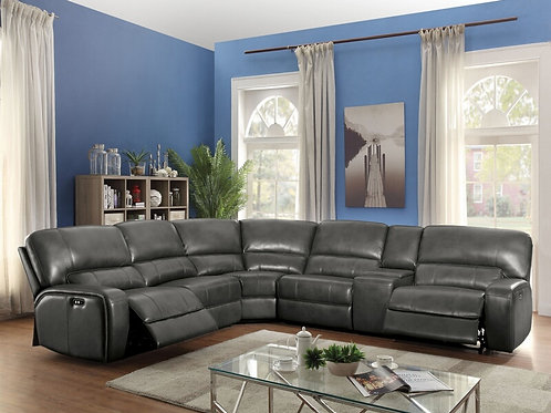 Saul All Sectional Sofa (Power Motion/USB Dock) Gray Leather-Aire